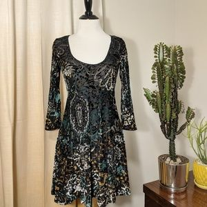 Free People Semisheer Velvet Dress, XS